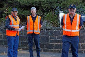 Tony Soljan, Brian Hannan and Trevor Buckley on carpark duties